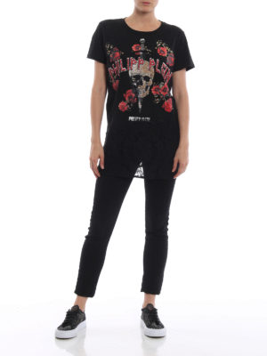 PHILIPP PLEIN: t-shirt online - T-shirt You and I in cotone e pizzo
