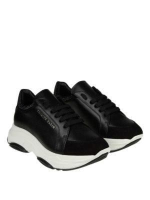 PHILIPP PLEIN: sneakers online - Sneaker nere in pelle e suede con strass