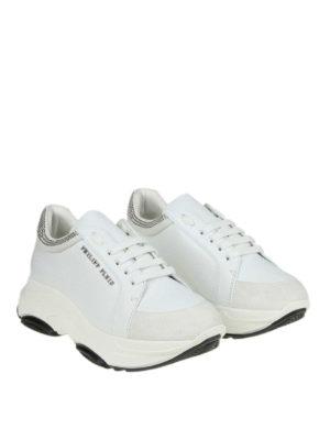PHILIPP PLEIN: sneakers online - Sneaker bianche in pelle e suede con strass