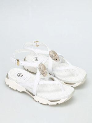 Philipp Plein: sandals online - Madreperla jewelled thong sandals