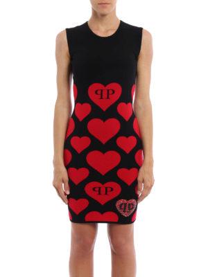 Philipp Plein: short dresses online - Malli Blue hearts intarsia dress