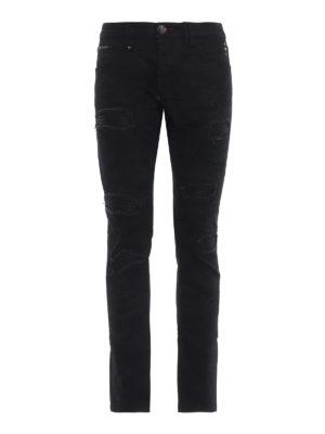 PHILIPP PLEIN: jeans skinny - Jeans Camou neri in denim effetto usato