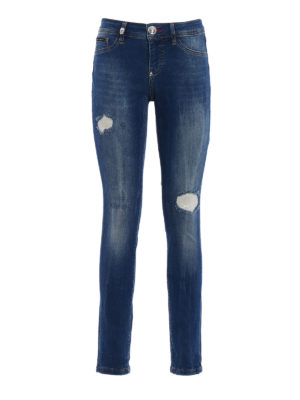 PHILIPP PLEIN: jeans skinny - Jeggings Only Time con strappi