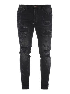 PHILIPP PLEIN: jeans skinny - Jeans Statement in denim slavato