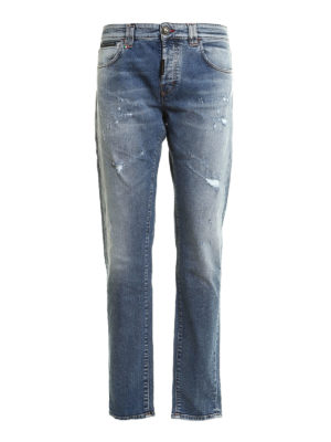 Philipp Plein: straight leg jeans - Acajou straight cut worn out jeans