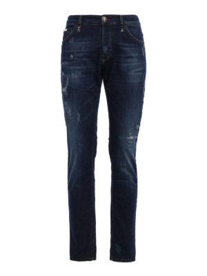 Philipp Plein: straight leg jeans - Akio jeans with mini metal skulls