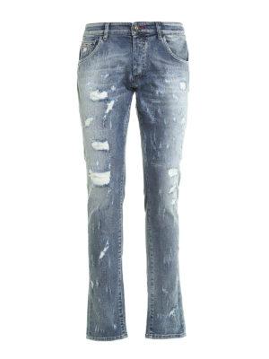 Philipp Plein: straight leg jeans - Artistic ripped jeans