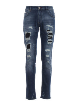 Philipp Plein: straight leg jeans - Camou Details destroyed denim jeans