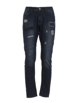 Philipp Plein: straight leg jeans - Doctor Jones used effect jeans
