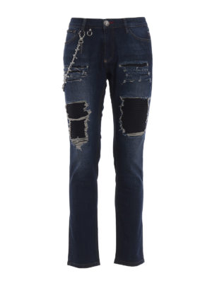 Philipp Plein: straight leg jeans - Fashion Show jeans with chain