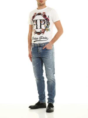 Philipp Plein: straight leg jeans online - Acajou straight cut worn out jeans