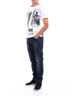 Philipp Plein: straight leg jeans online - Akio jeans with mini metal skulls