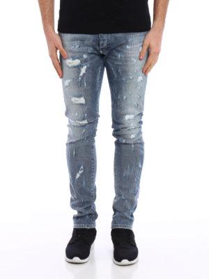 Philipp Plein: straight leg jeans online - Artistic ripped jeans