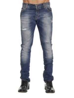 Philipp Plein: straight leg jeans online - Back coloured logo jeans