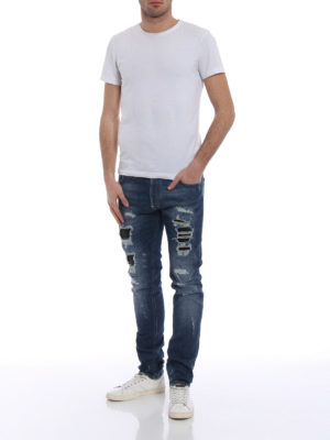 Philipp Plein: straight leg jeans online - Camou Details destroyed denim jeans