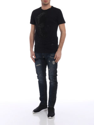 Philipp Plein: straight leg jeans online - Doctor Jones used effect jeans