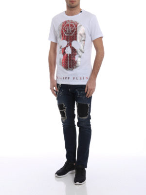 Philipp Plein: straight leg jeans online - Fashion Show jeans with chain