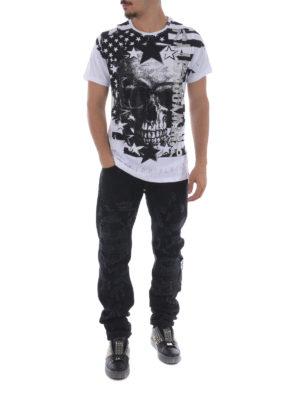 Philipp Plein: straight leg jeans online - Ripped black denim jeans