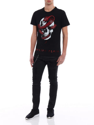 Philipp Plein: straight leg jeans online - Slim Fit Fashion Show coated jeans