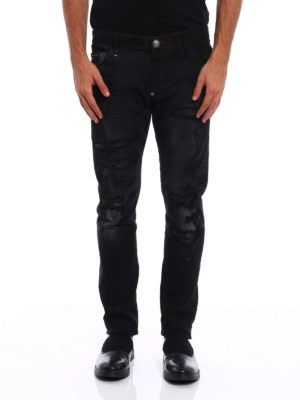 Philipp Plein: straight leg jeans online - Super straight cut worn out jeans