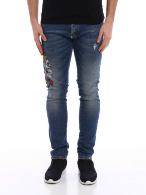 Philipp Plein: straight leg jeans online - Twisted embroidered jeans