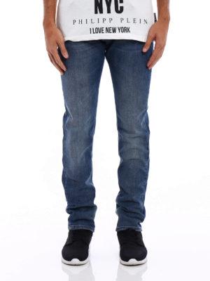 Philipp Plein: straight leg jeans online - Worth faded blue denim jeans
