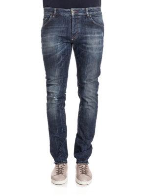 Philipp Plein: straight leg jeans online - Yusuke metal logo lettering jeans