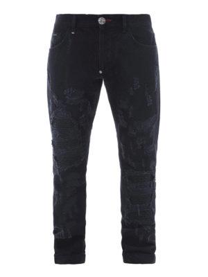 Philipp Plein: straight leg jeans - Ripped black denim jeans