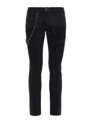 Philipp Plein: straight leg jeans - Slim Fit Fashion Show coated jeans
