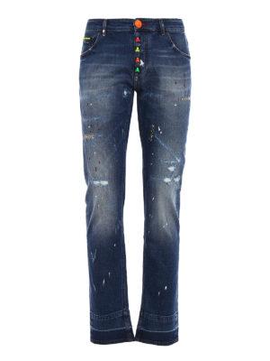 Philipp Plein: straight leg jeans - Stop me fluo skull jeans