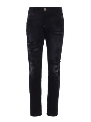 Philipp Plein: straight leg jeans - Super straight cut worn out jeans