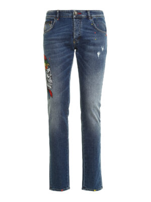 Philipp Plein: straight leg jeans - Twisted embroidered jeans