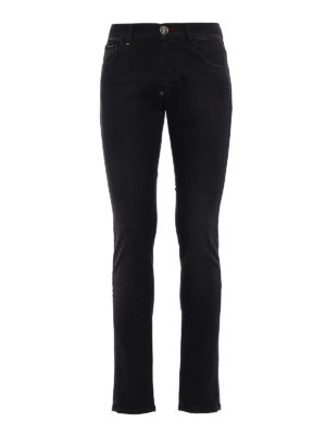 Philipp Plein: straight leg jeans - Worth faded denim jeans