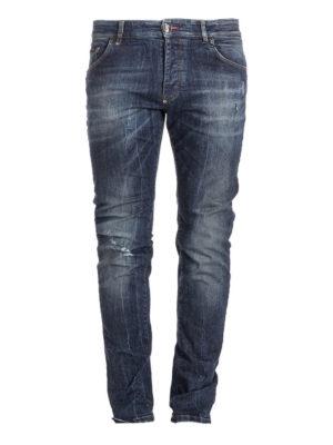 Philipp Plein: straight leg jeans - Yusuke metal logo lettering jeans