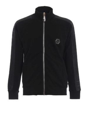 PHILIPP PLEIN: Felpe e maglie - Felpa Black Band con zip in cotone decorato