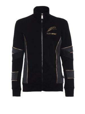 Philipp Plein: Sweatshirts & Sweaters - Gold cotton sweat jacket