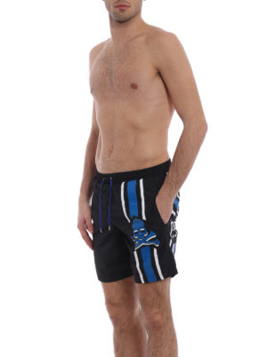 Philipp Plein: Swim shorts & swimming trunks online - Unsteady blue skull swim shorts
