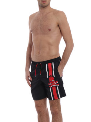 Philipp Plein: Swim shorts & swimming trunks online - Unsteady red skull swim shorts