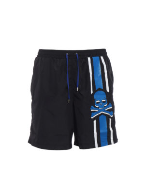 Philipp Plein: Swim shorts & swimming trunks - Unsteady blue skull swim shorts