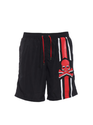 Philipp Plein: Swim shorts & swimming trunks - Unsteady red skull swim shorts