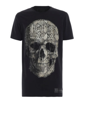 PHILIPP PLEIN: t-shirt - T-shirt Black Cut-Python skull con strass