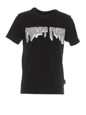 PHILIPP PLEIN: t-shirts - Embellished Rock PP black and silver T-shirt