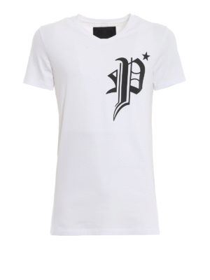 PHILIPP PLEIN: t-shirt - T-shirt Gods bianca con stampe gommate