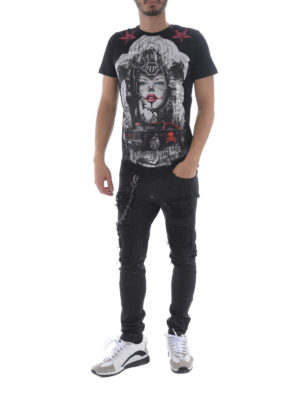 Philipp Plein: t-shirts online - Blue Eyes black T-shirt