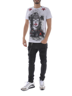 Philipp Plein: t-shirts online - Blue Eyes white T-shirt