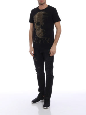 Philipp Plein: t-shirts online - Ghost-S golden embellishment Tee