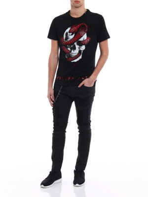 Philipp Plein: t-shirts online - Strass Snake cotton T-shirt