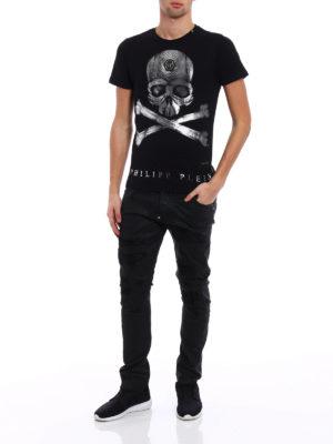Philipp Plein: t-shirts online - U now metallic Skull print Tee