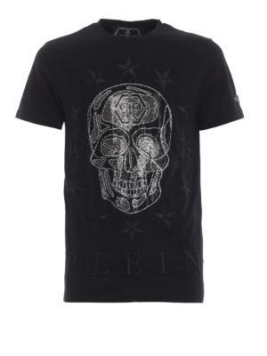 PHILIPP PLEIN: t-shirt - T-shirt con teschi di strass Push It