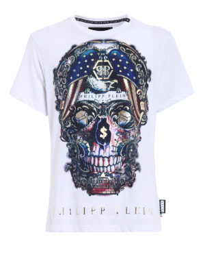 Philipp Plein: t-shirts - Pusher skull print T-shirt